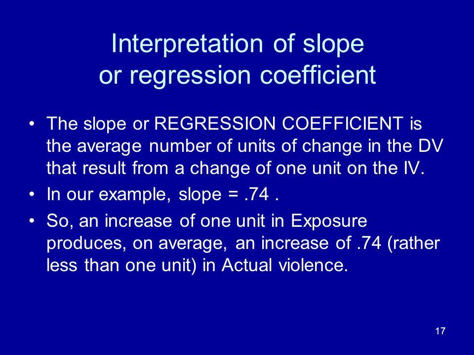 Interpretation of slope or regression coefficient