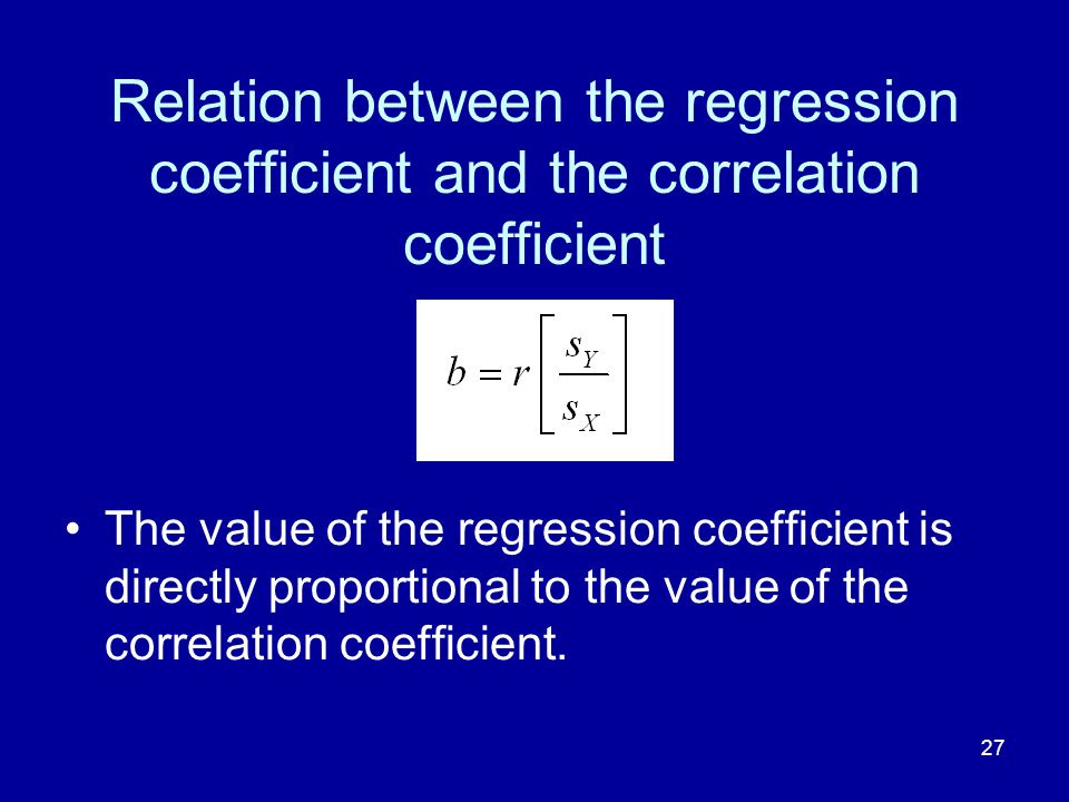 Relation between the regression coefficient and the correlation coefficient