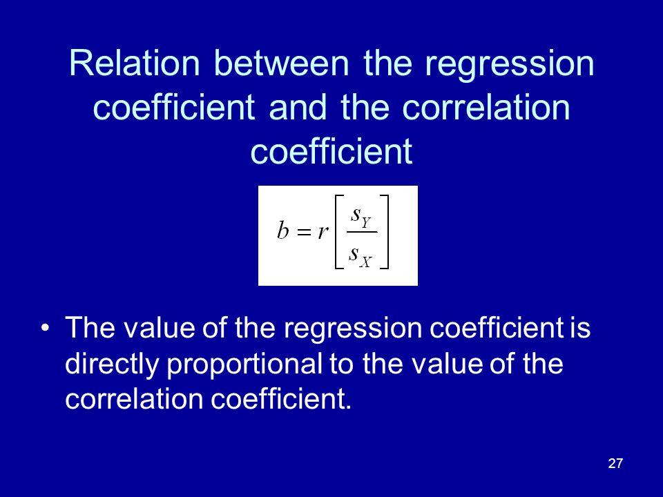 Relation between the regression coefficient and the correlation coefficient