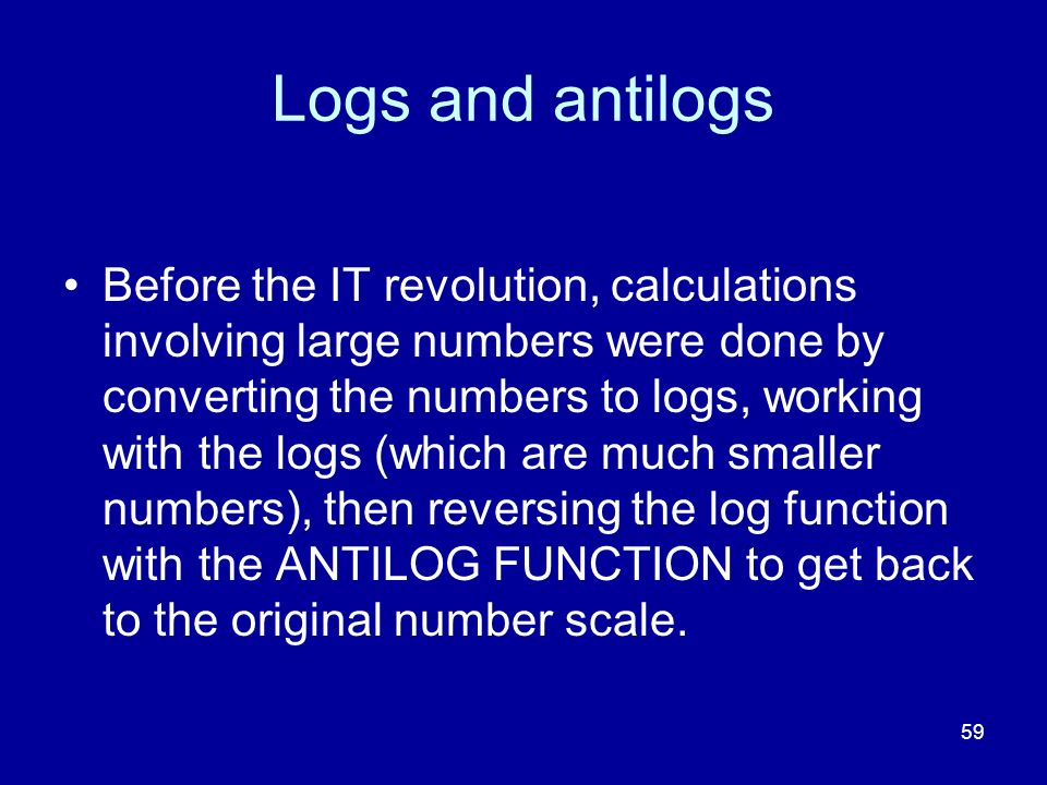 Logs and antilogs