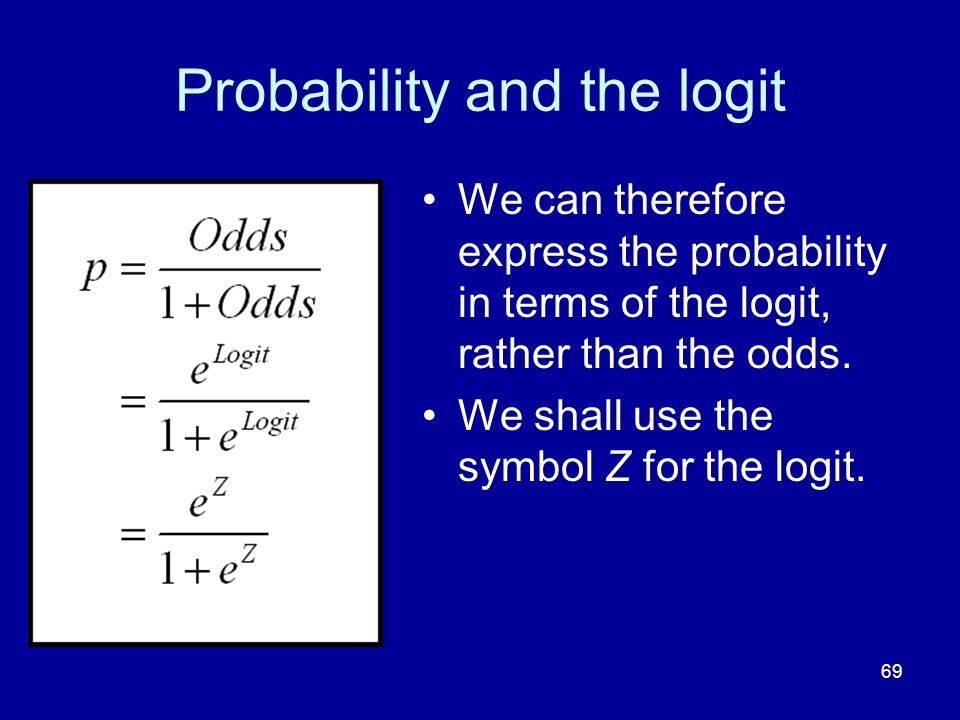 Probability and the logit