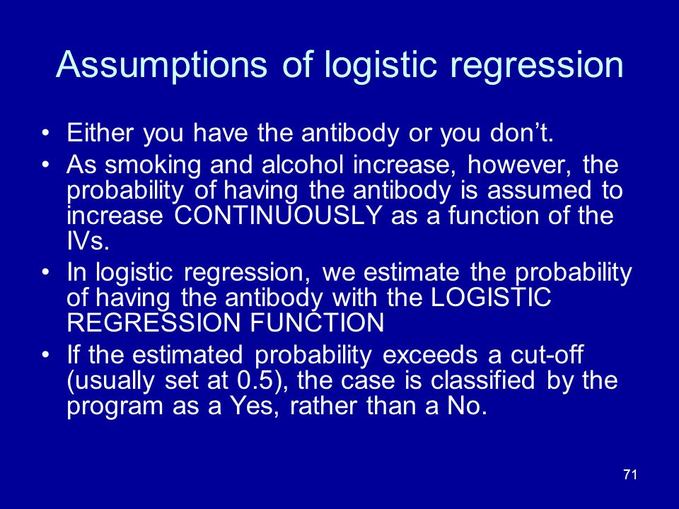 Assumptions of logistic regression