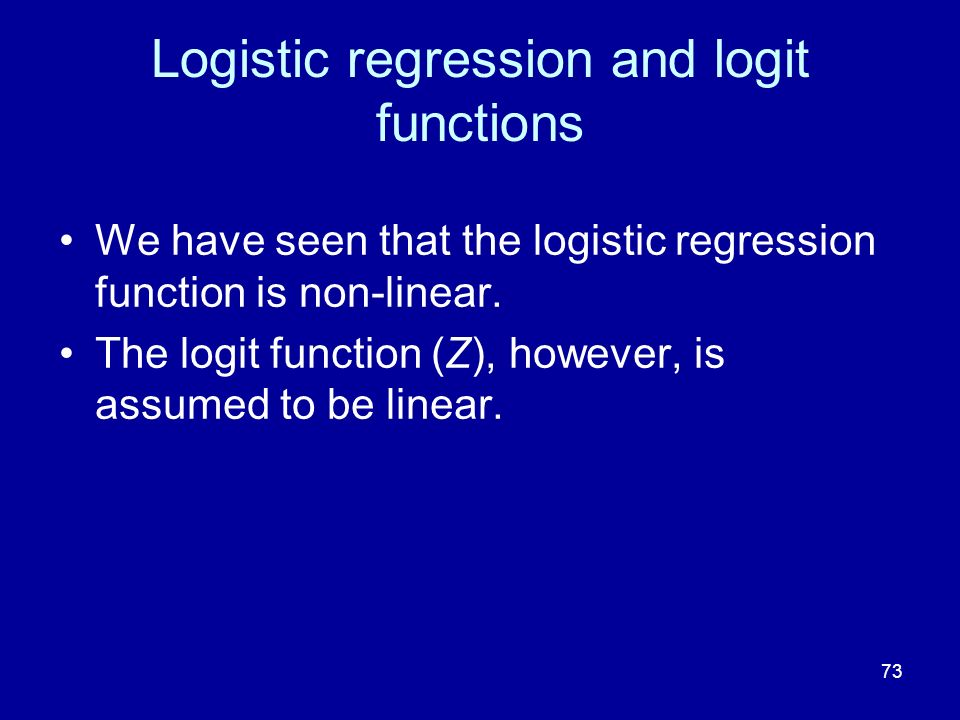 Logistic regression and logit functions