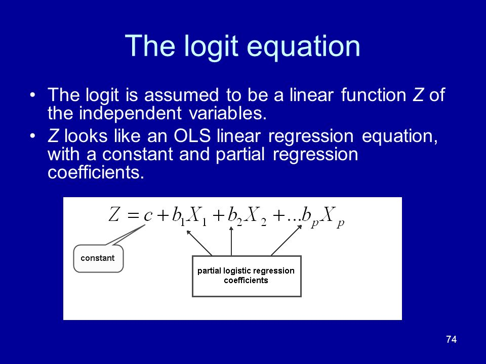 The logit equation The logit is assumed to be a linear function Z of the independent variables.