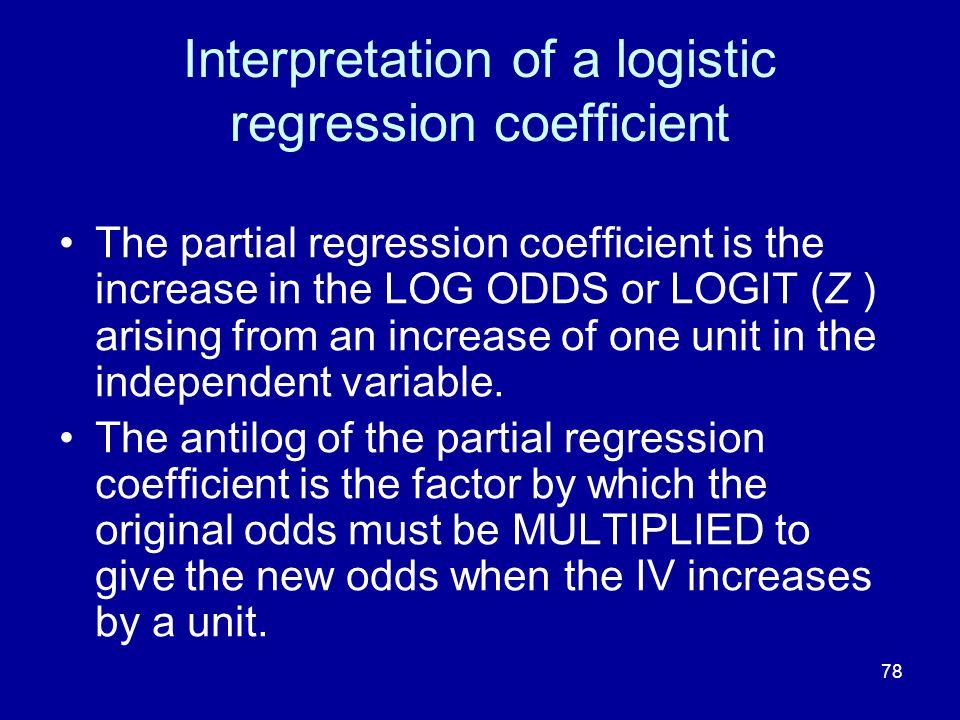 Interpretation of a logistic regression coefficient