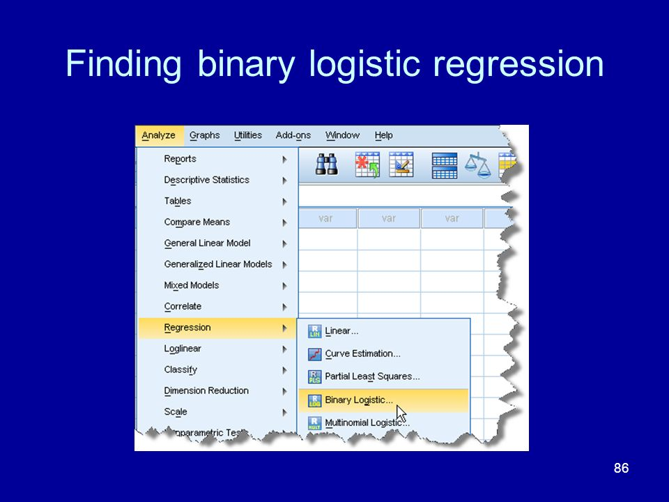 Finding binary logistic regression