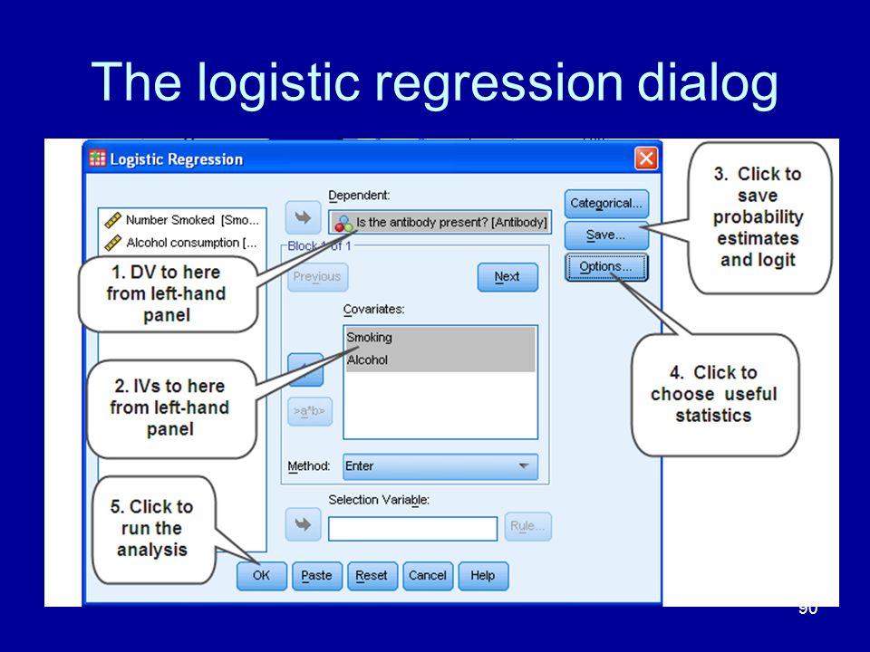 The logistic regression dialog