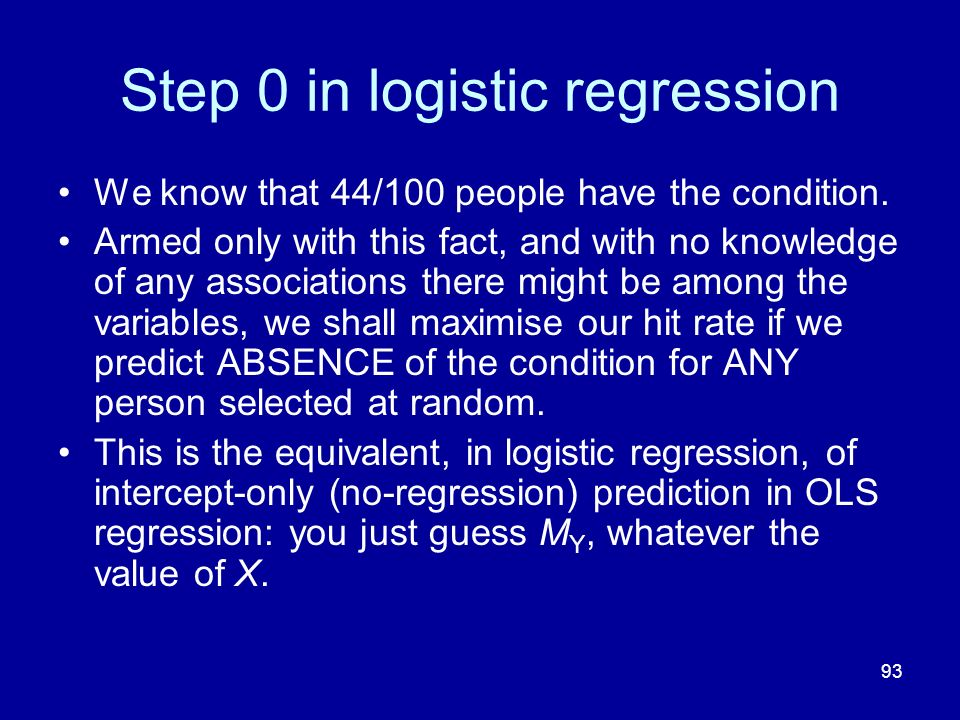 Step 0 in logistic regression