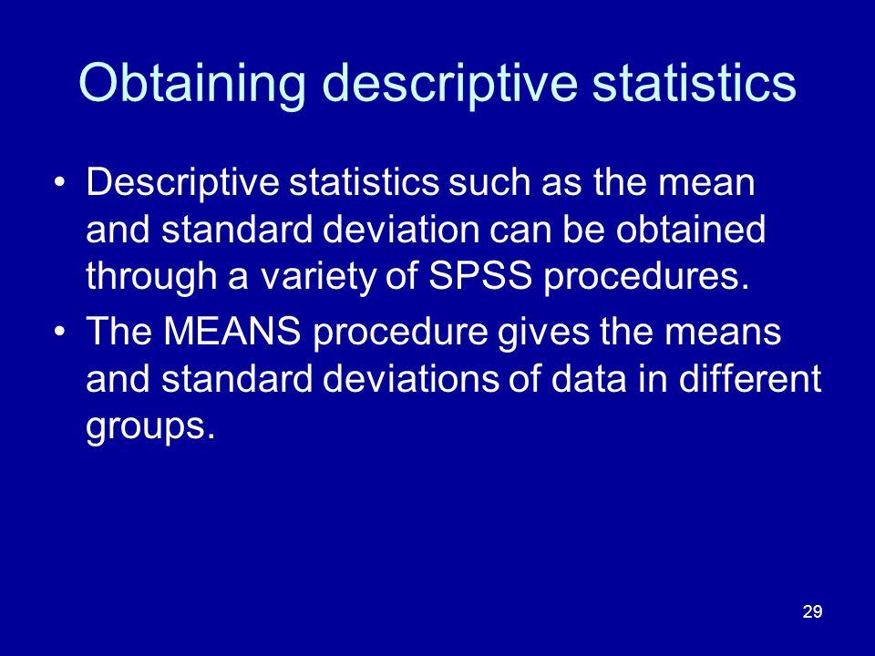 Obtaining descriptive statistics