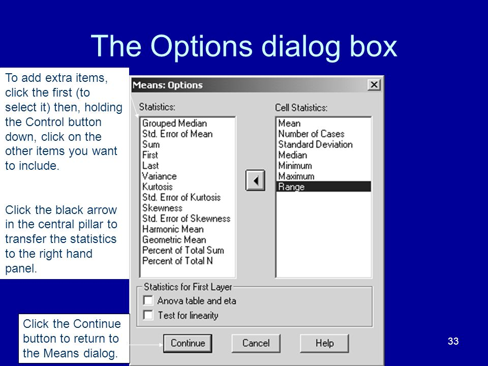 The Options dialog box