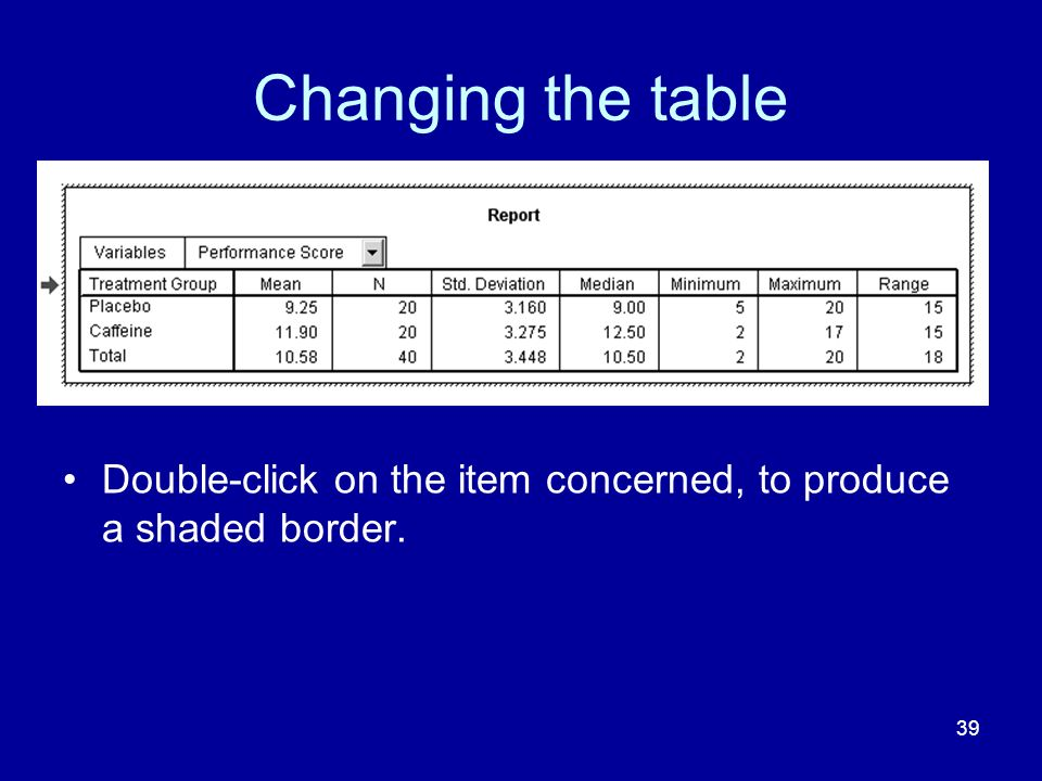Changing the table Double-click on the item concerned, to produce a shaded border.