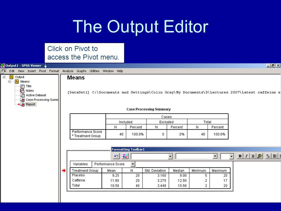 The Output Editor Click on Pivot to access the Pivot menu.