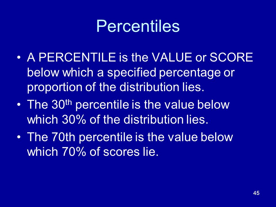 Percentiles A PERCENTILE is the VALUE or SCORE below which a specified percentage or proportion of the distribution lies.