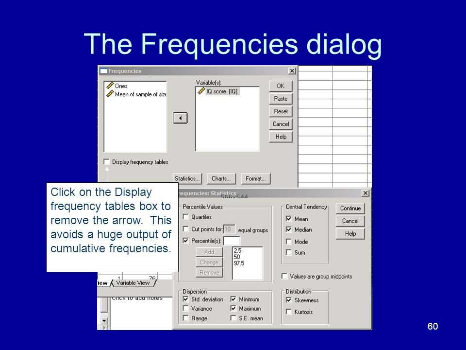 The Frequencies dialog