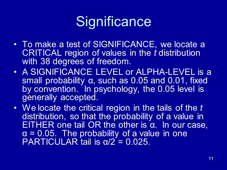 Significance To make a test of SIGNIFICANCE, we locate a CRITICAL region of values in the t distribution with 38 degrees of freedom.