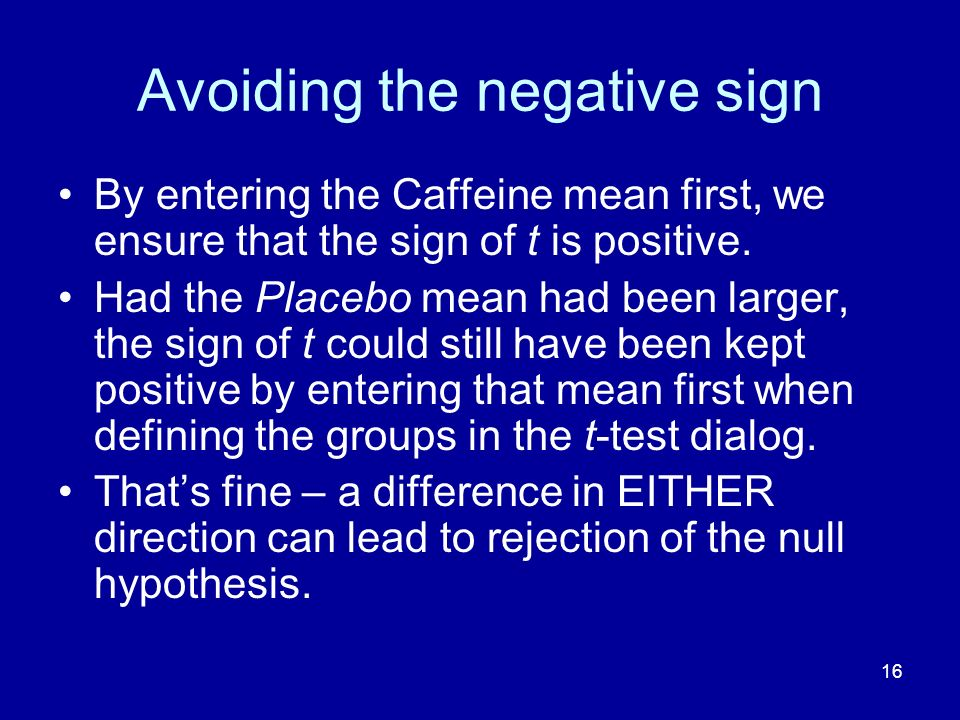Avoiding the negative sign
