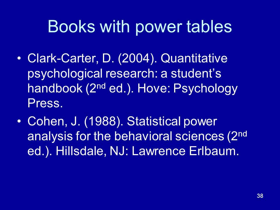 Books with power tables