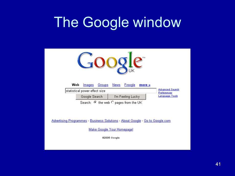 The Google window