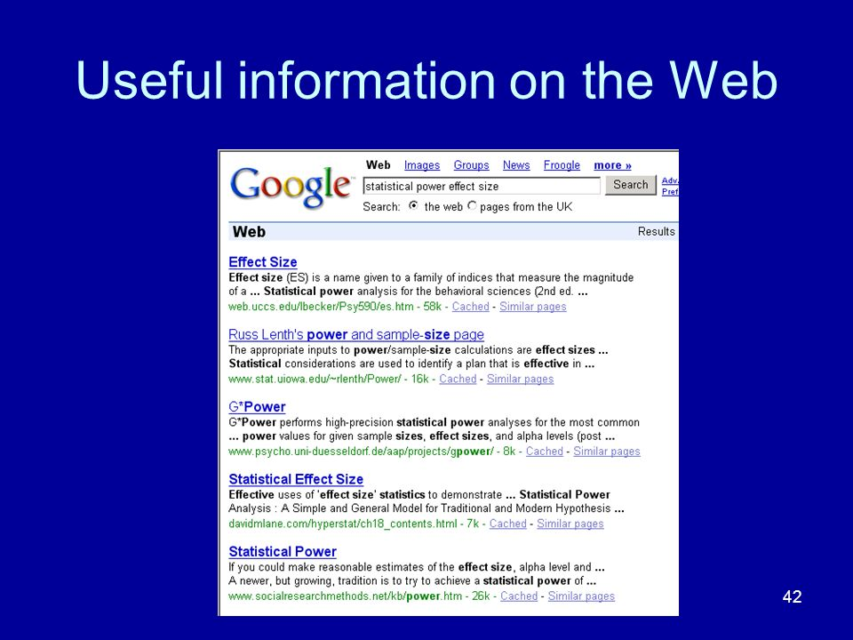 Useful information on the Web
