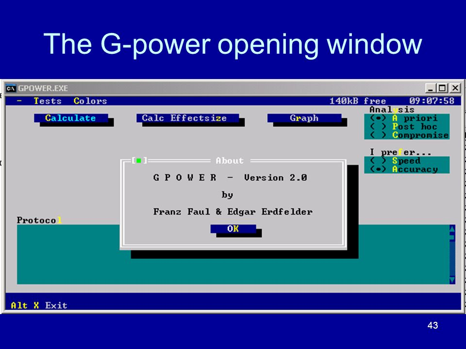 The G-power opening window