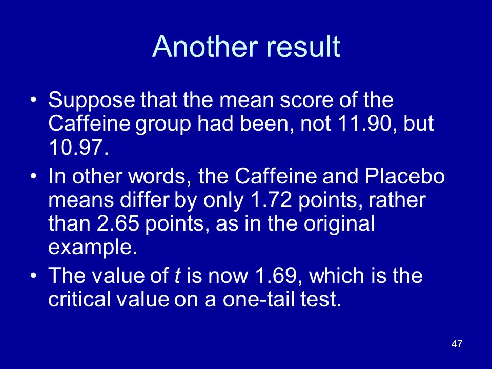 Another result Suppose that the mean score of the Caffeine group had been, not 11.90, but