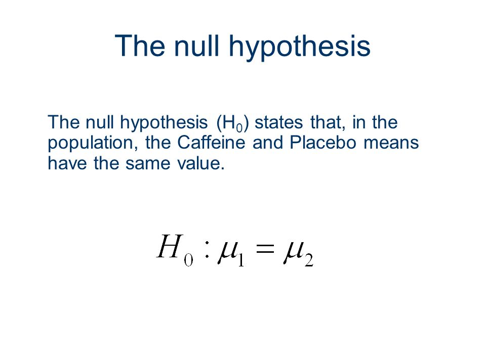 The null hypothesis The null hypothesis (H0) states that, in the population, the Caffeine and Placebo means have the same value.