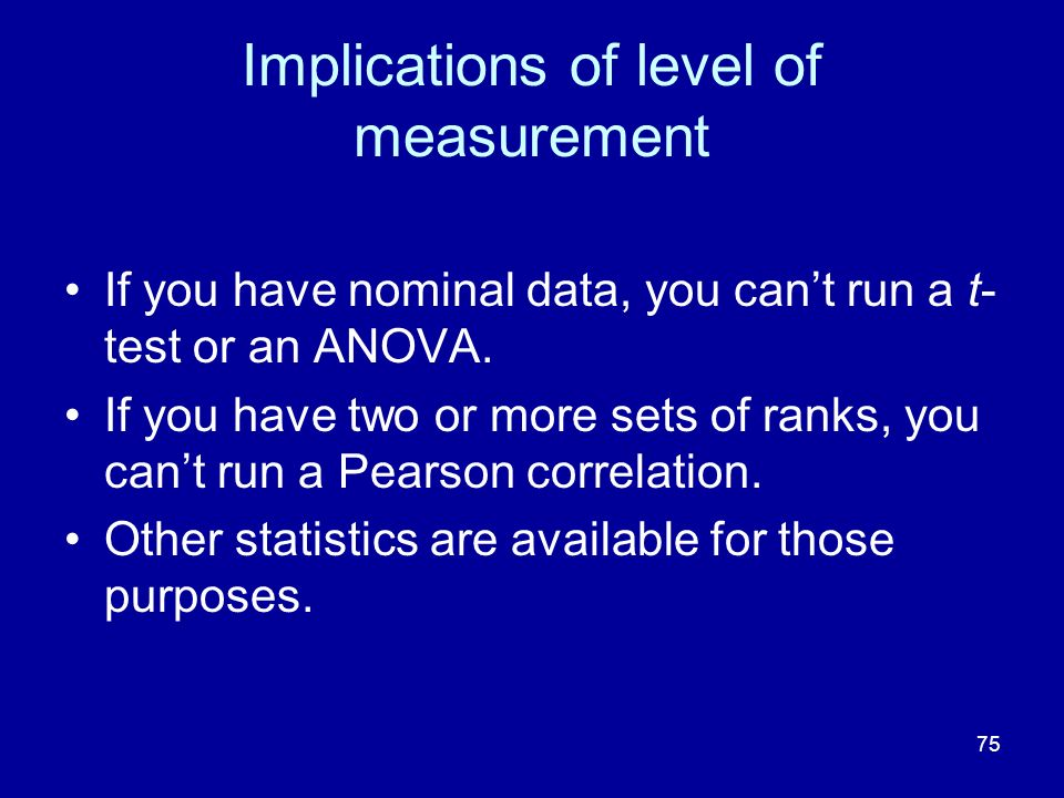 Implications of level of measurement