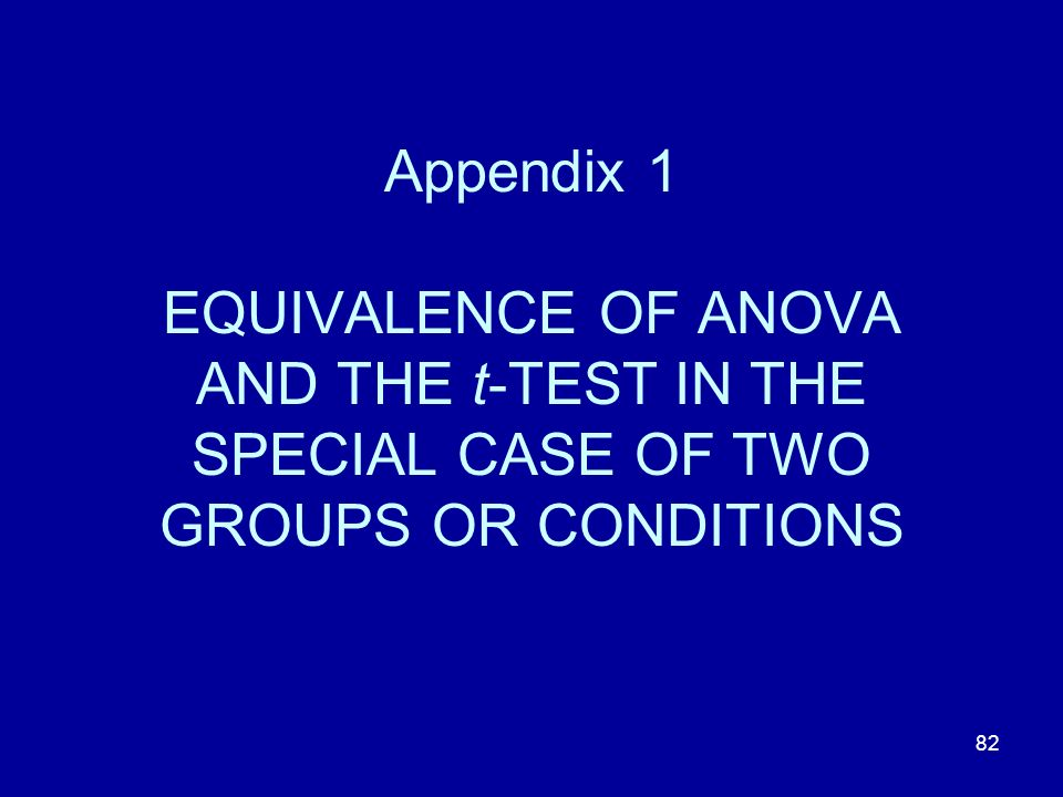 Appendix 1 EQUIVALENCE OF ANOVA AND THE t-TEST IN THE SPECIAL CASE OF TWO GROUPS OR CONDITIONS