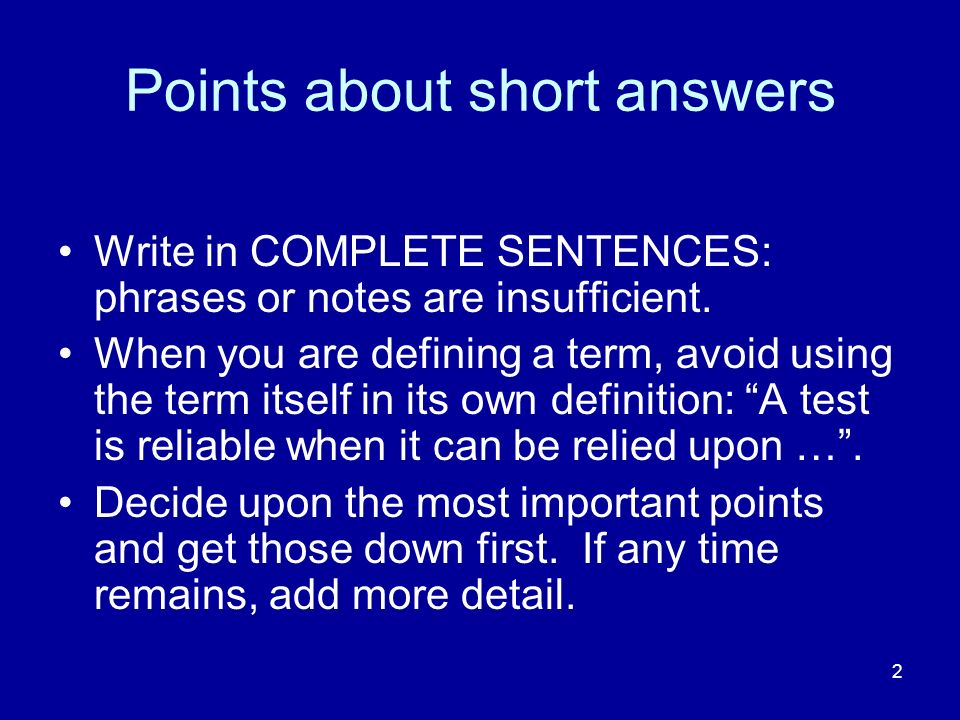 Points about short answers