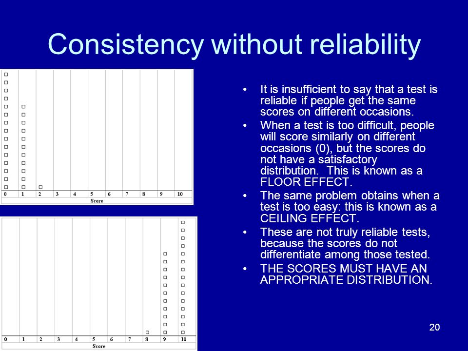 Consistency without reliability