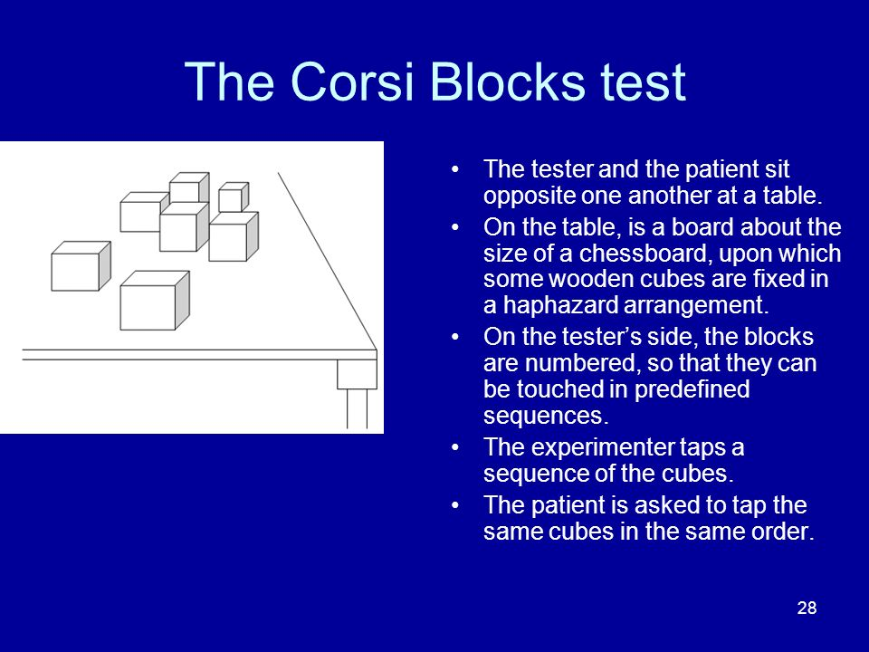 The Corsi Blocks test The tester and the patient sit opposite one another at a table.
