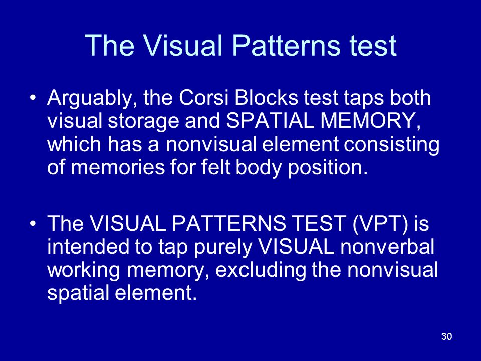 The Visual Patterns test