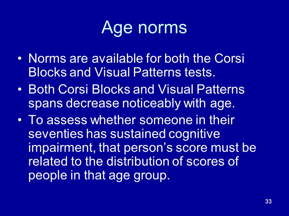 Age norms Norms are available for both the Corsi Blocks and Visual Patterns tests.