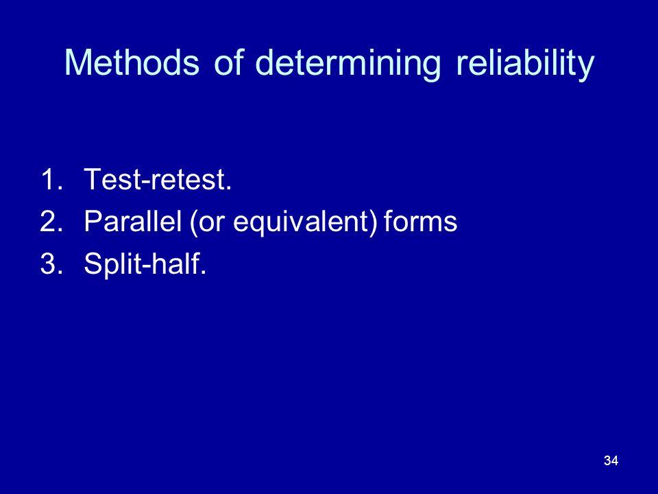 Methods of determining reliability
