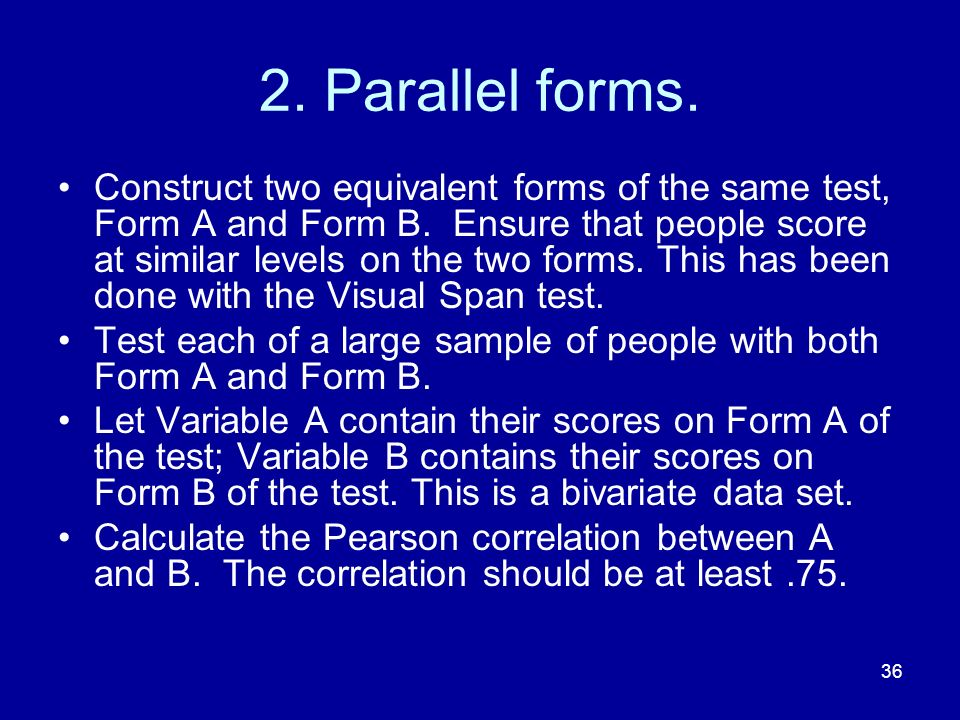 2. Parallel forms.