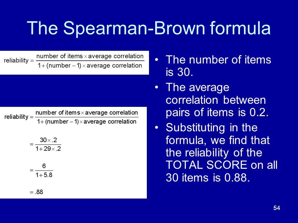 The Spearman-Brown formula