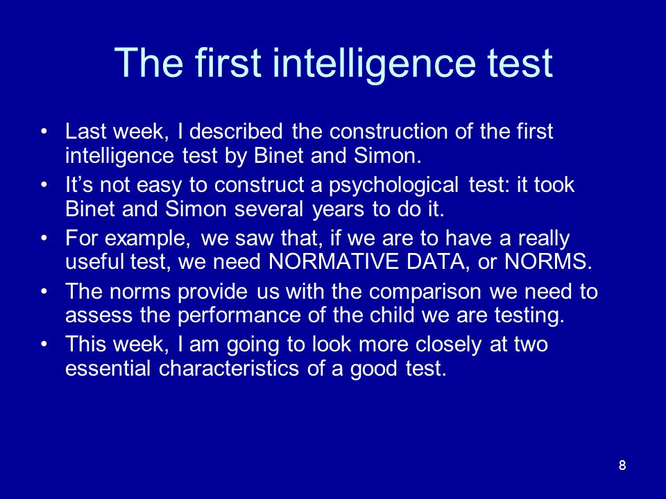 The first intelligence test