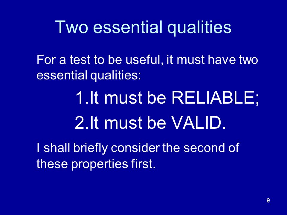 Two essential qualities