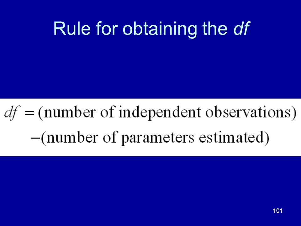 Rule for obtaining the df