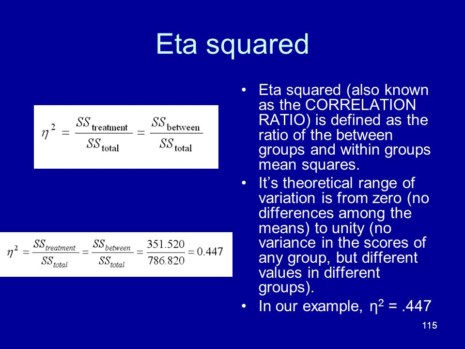 Eta squared Eta squared (also known as the CORRELATION RATIO) is defined as the ratio of the between groups and within groups mean squares.