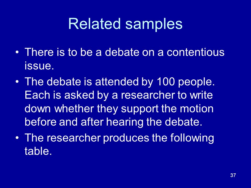 Related samples There is to be a debate on a contentious issue.