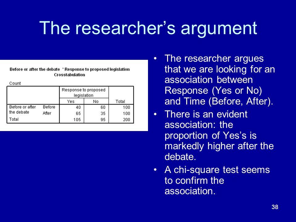 The researcher's argument