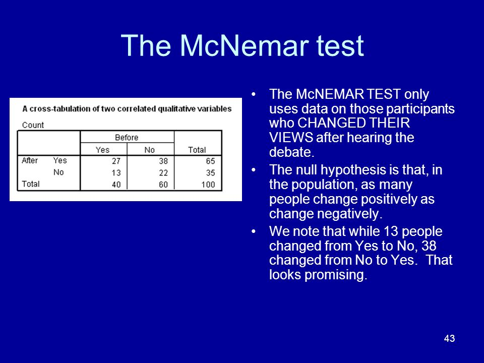 The McNemar test The McNEMAR TEST only uses data on those participants who CHANGED THEIR VIEWS after hearing the debate.