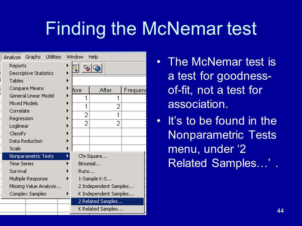 Finding the McNemar test