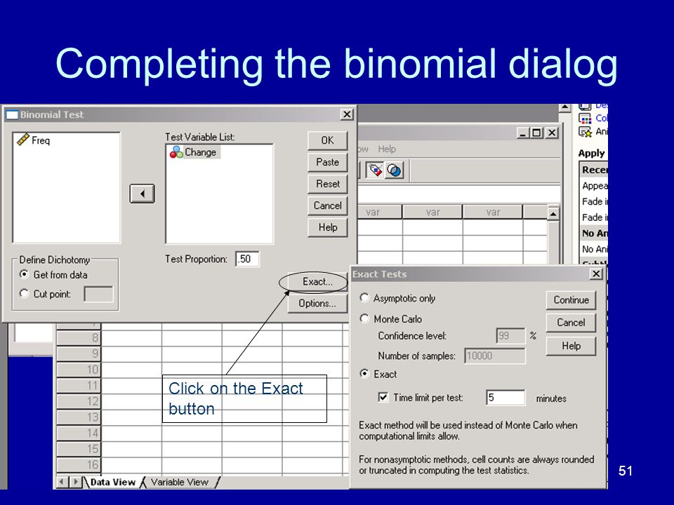 Completing the binomial dialog