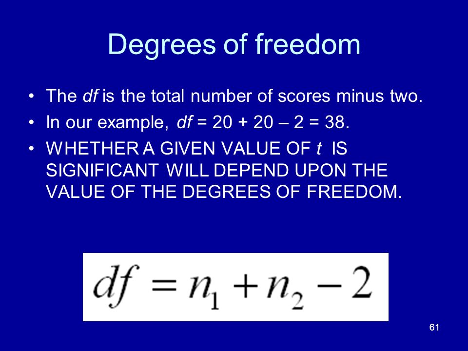 Degrees of freedom The df is the total number of scores minus two.