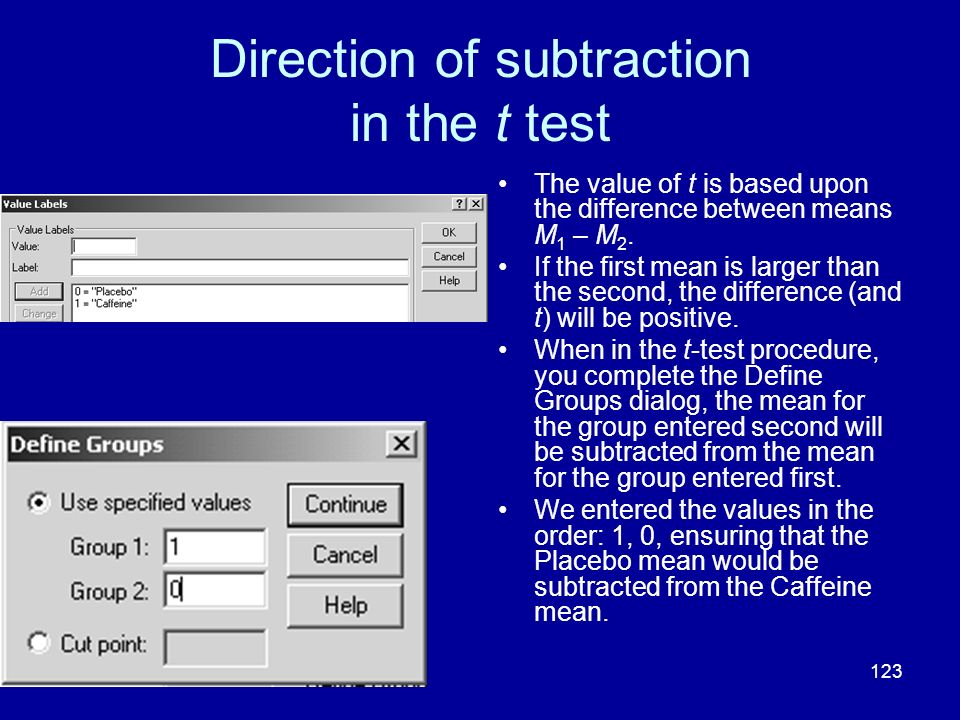Direction of subtraction in the t test