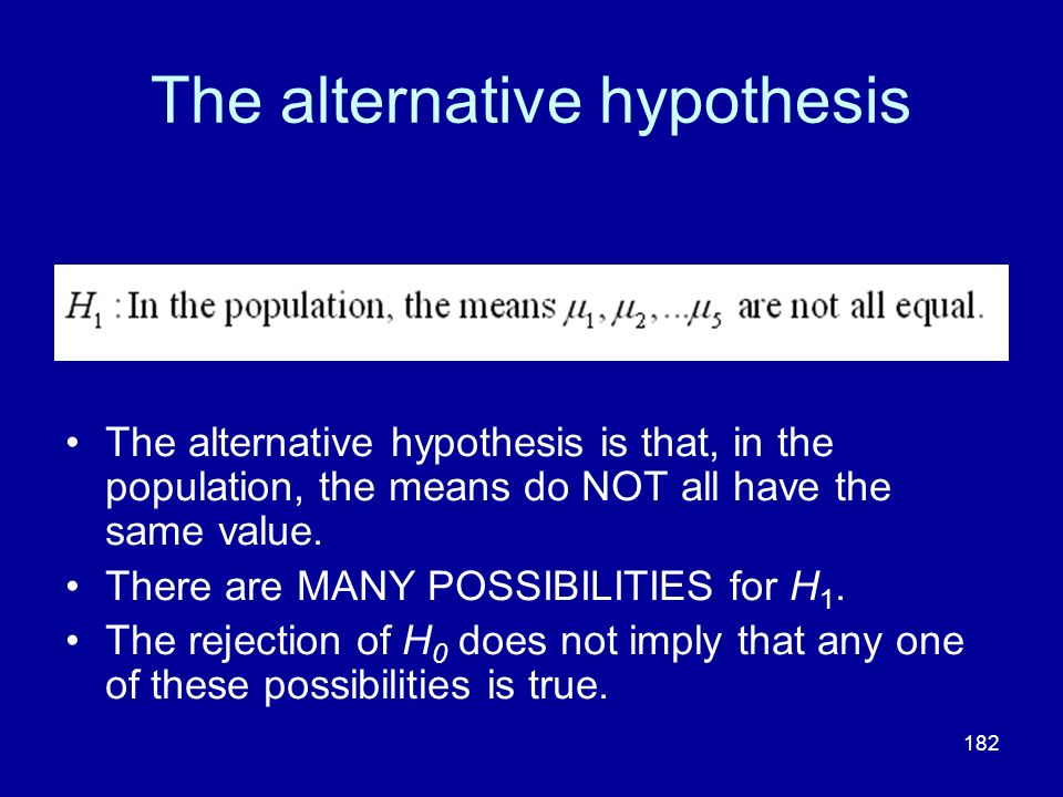 The alternative hypothesis