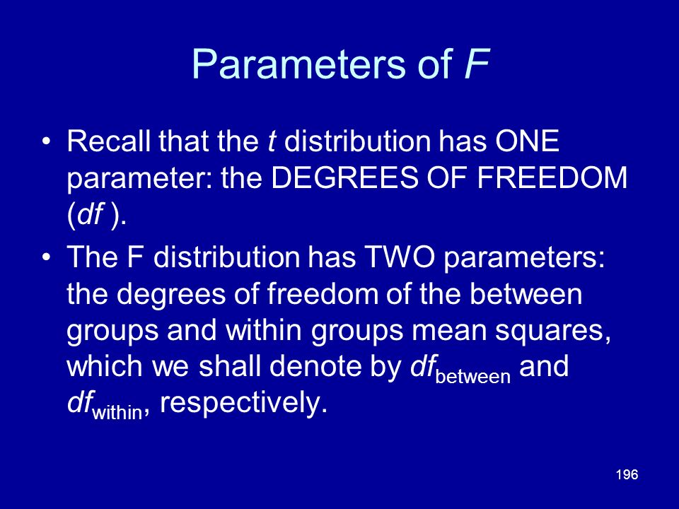 Parameters of F Recall that the t distribution has ONE parameter: the DEGREES OF FREEDOM (df ).