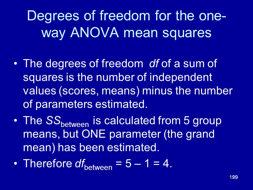 Degrees of freedom for the one-way ANOVA mean squares
